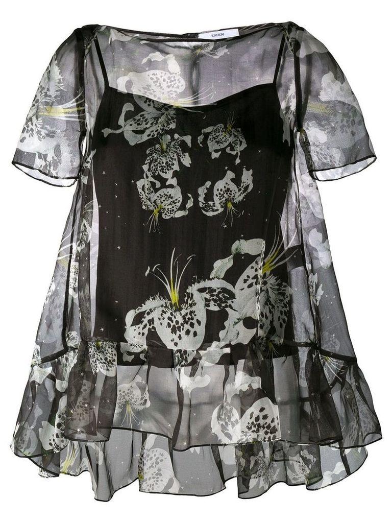 Erdem sheer ruffle blouse - Black