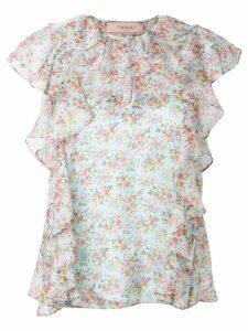 Twin-Set floral flutter blouse - Blue