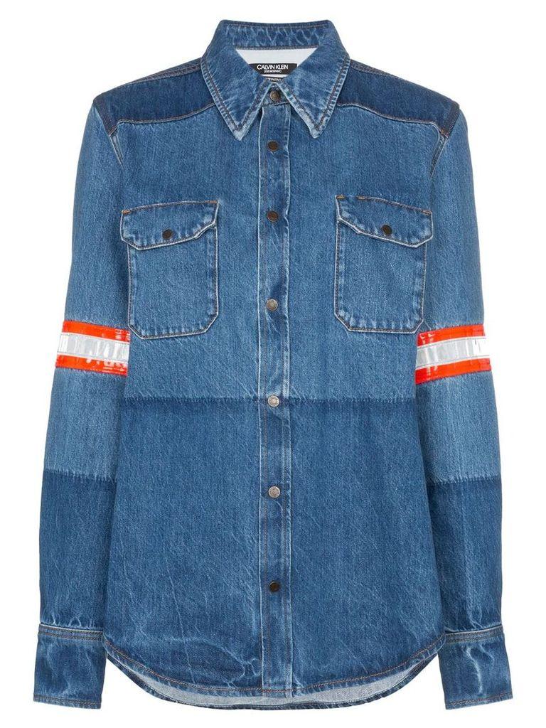 Calvin Klein 205W39nyc fireman band bleached denim shirt - Blue