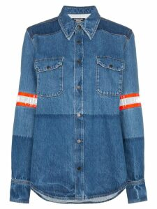 Calvin Klein 205W39nyc fireman band bleached denim shirt - Blue