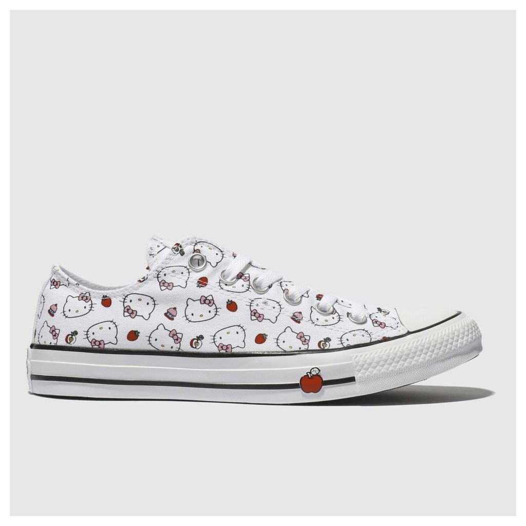 Converse White & Red All Star Hello Kitty Ox Trainers