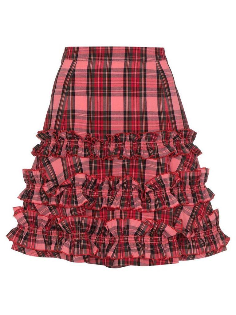 Molly Goddard tartan ruffle A-line skirt - Pink