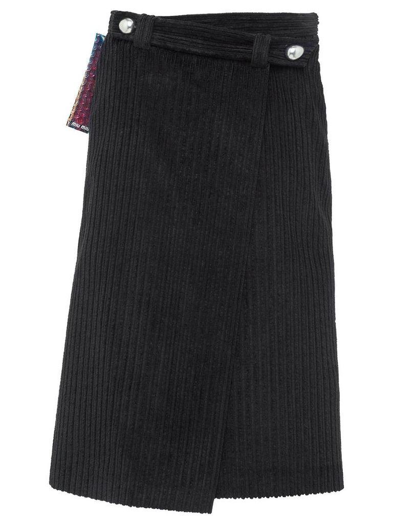 Miu Miu wraparound velvet skirt - Black