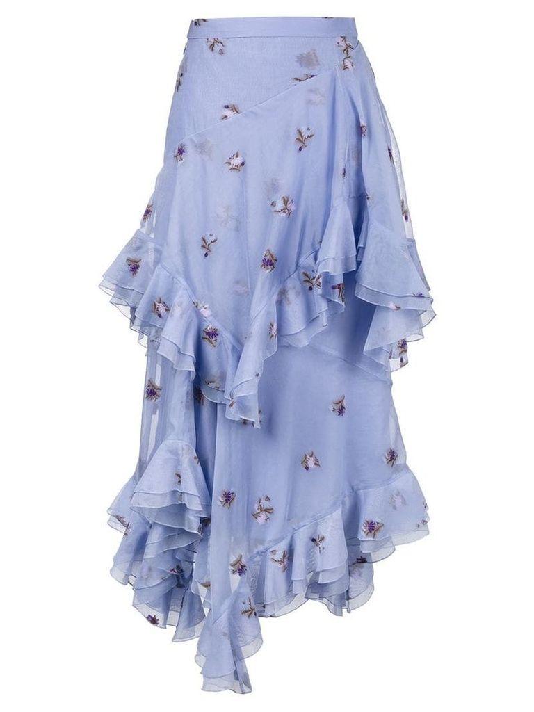 Erdem Elsa floral embroidered tiered ruffle skirt - Purple