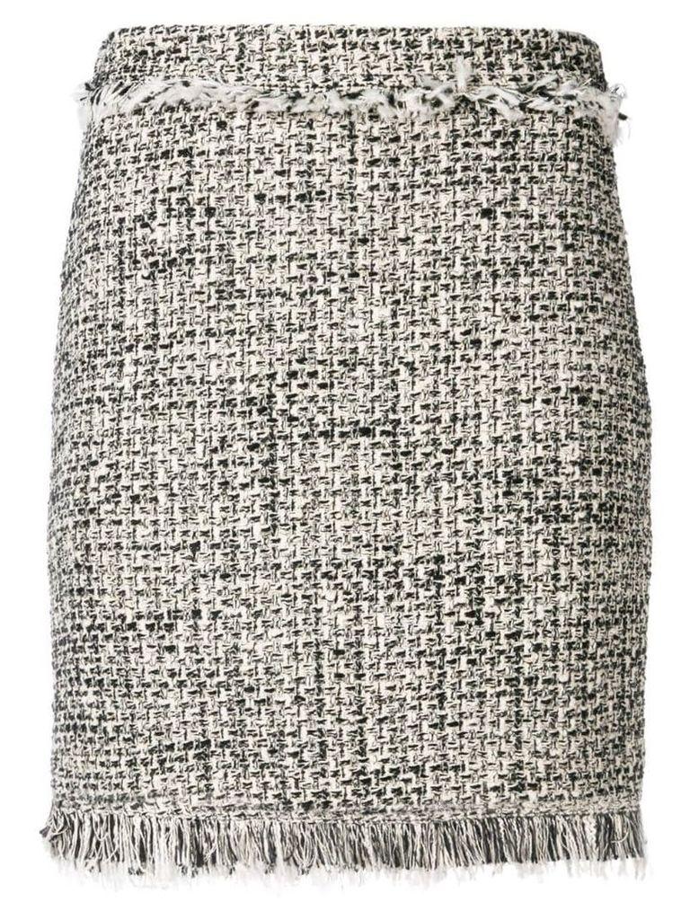 Twin-Set frayed bouclé skirt - Black