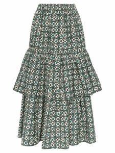 Golden Goose Miranda floral check tiered midi skirt - Green