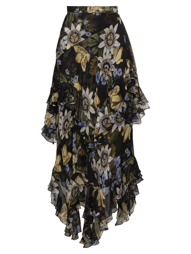 Erdem asymmetric floral print skirt - Black