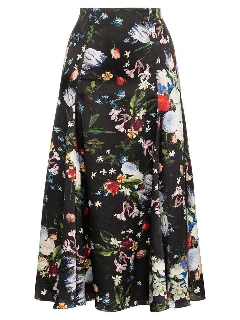 Erdem Vesper floral print midi skirt - Black