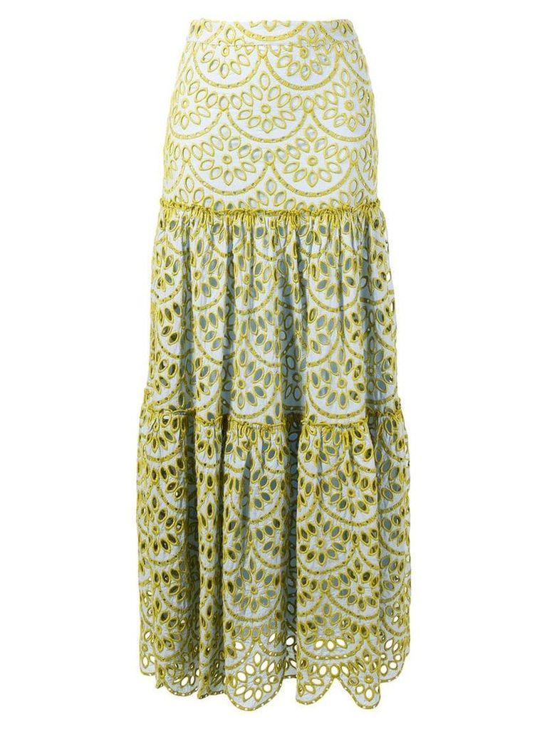 Pinko embroidered maxi skirt - Blue