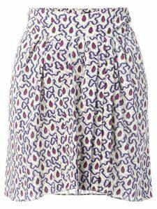 Isabel Marant mixed print pleated mini skirt - Neutrals