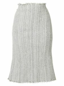 Thom Browne Ribbon Tweed Cardigan Pencil Skirt - Grey
