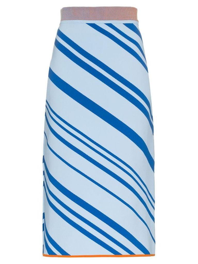 i-am-chen Striped knit pencil skirt - Blue