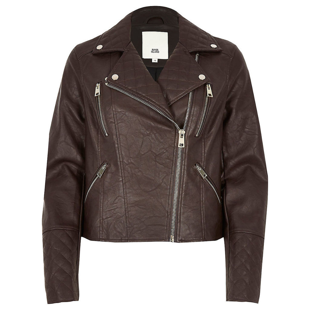 Womens Brown faux leather quilted biker jacket