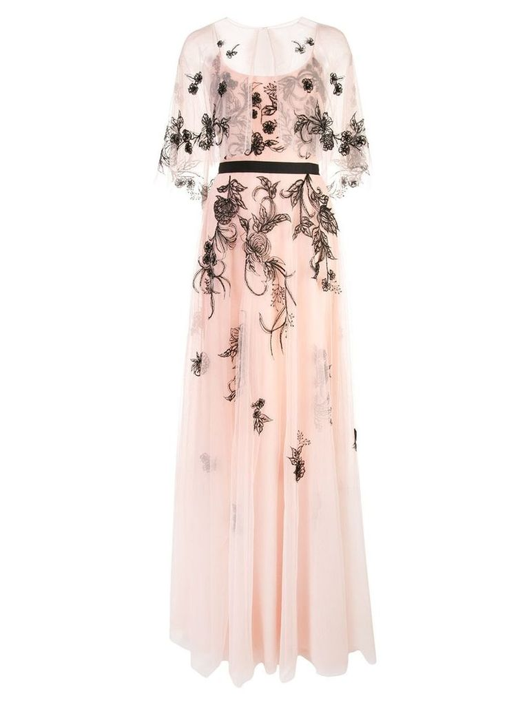 Marchesa Notte long embroidered gown - Pink