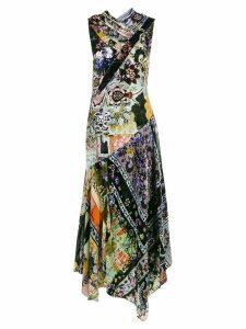 Erdem sleeveless floral print velvet panelled dress - Multicolour