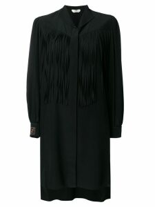 Fendi fringe detail silk shirt dress - Black