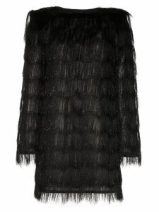 Balmain sparkle fringe long-sleeve mini dress - Black