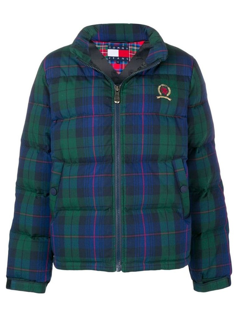 Tommy Jeans plaid puffer jacket - Blue