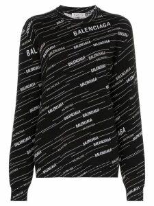 Balenciaga logo-intarsia wool jumper - Black