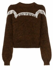 Ganni Aberdeen beaded fringing detail jumper - Brown