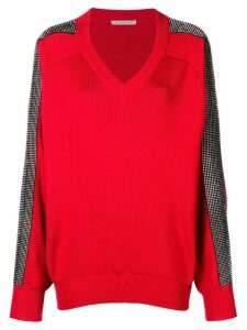 Christopher Kane crystal v-neck knit - Red