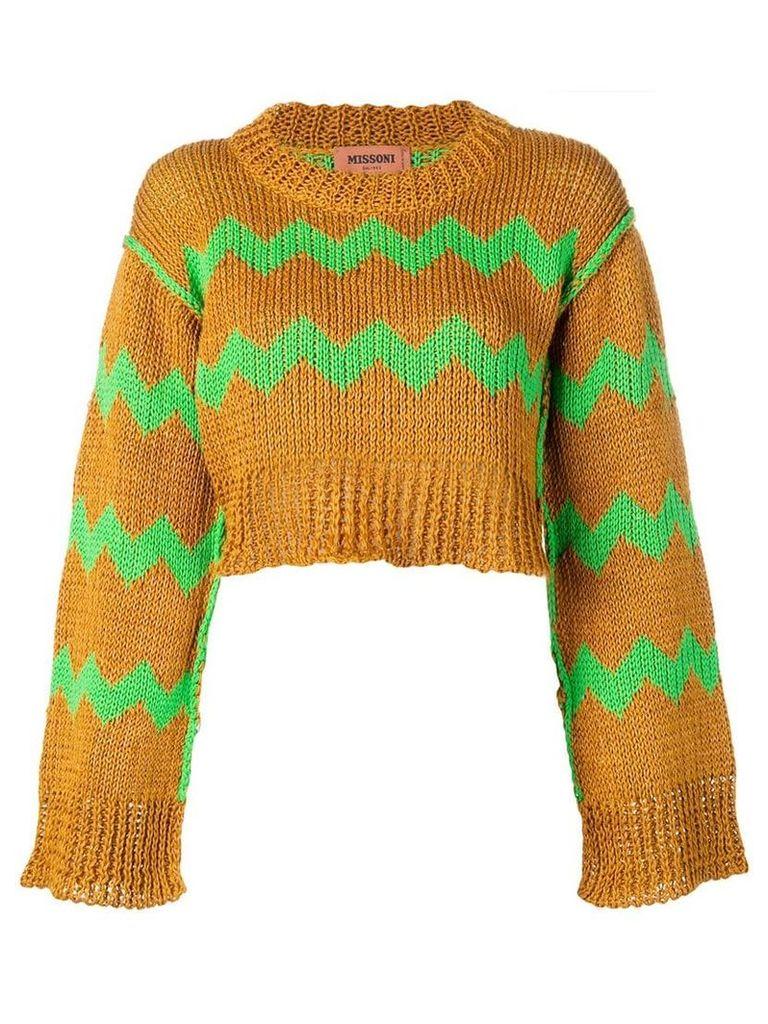 Missoni zig-zag embroidered sweater - Orange