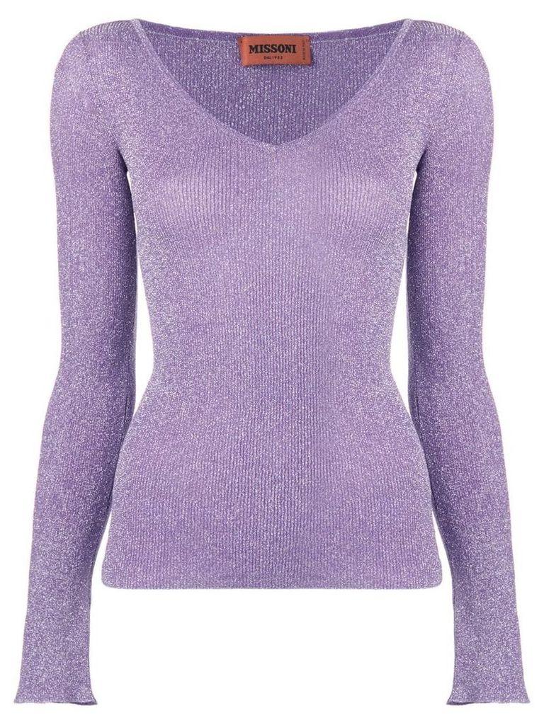 Missoni glitter v-neck jumper - Purple