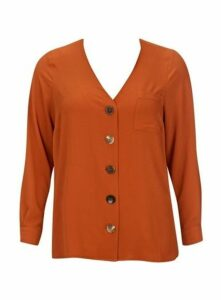 Orange Button Front Shirt, Orange