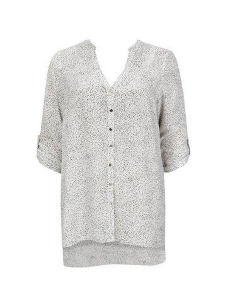 Ivory Spot Print Shirt, White