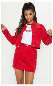 Red Jumbo Cord Cropped Jacket, Red