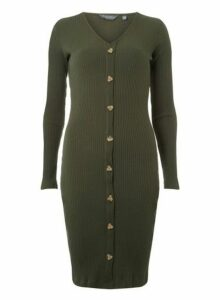 Womens **Tall Khaki Rib Button Bodycon Dress- Khaki, Khaki