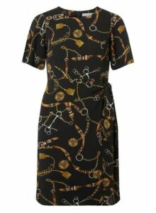 Womens Petite Black Belt Print Tie Dress- Black, Black