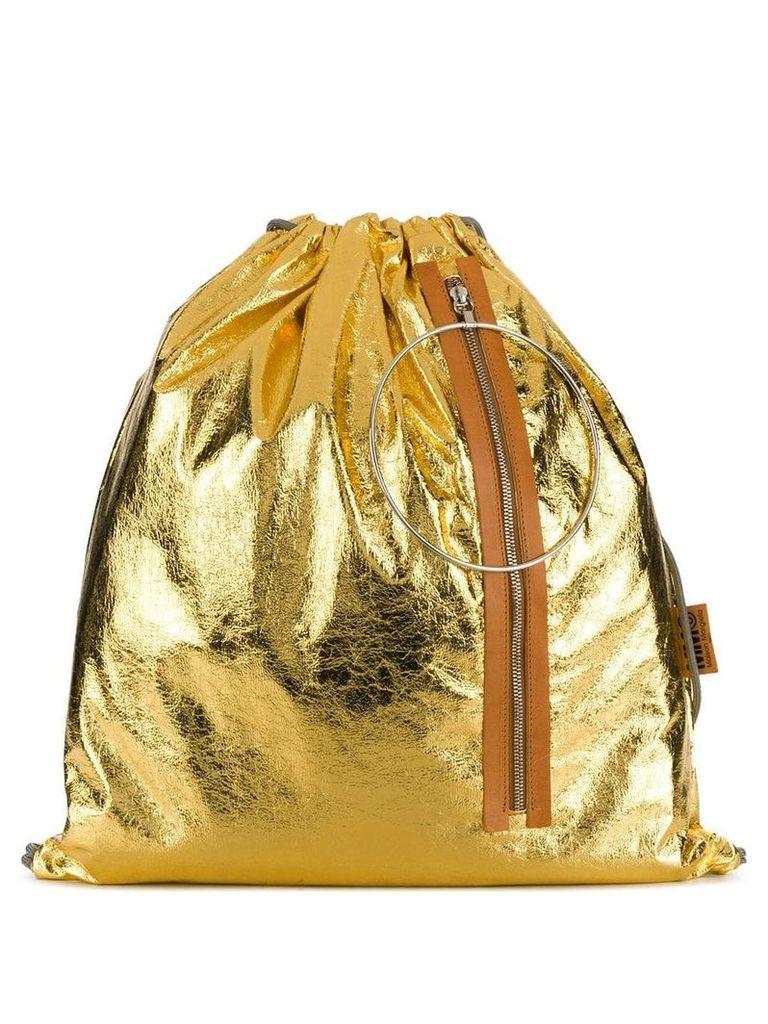 Mm6 Maison Margiela metallic drawstring backpack - Gold