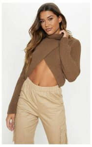 Taupe Chunky Knitted Roll Neck Wrap Jumper, Brown