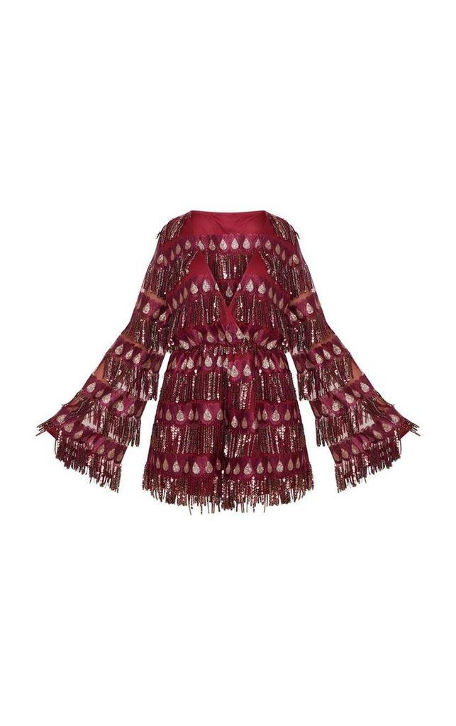 Burgundy Tassel Sequin Wrap Front Playsuit, Red