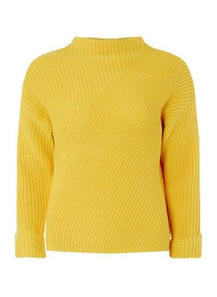 Womens Petite Yellow High Neck Jumper- Orange, Orange