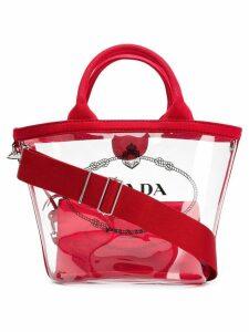 Prada sheer logo tote bag - Red