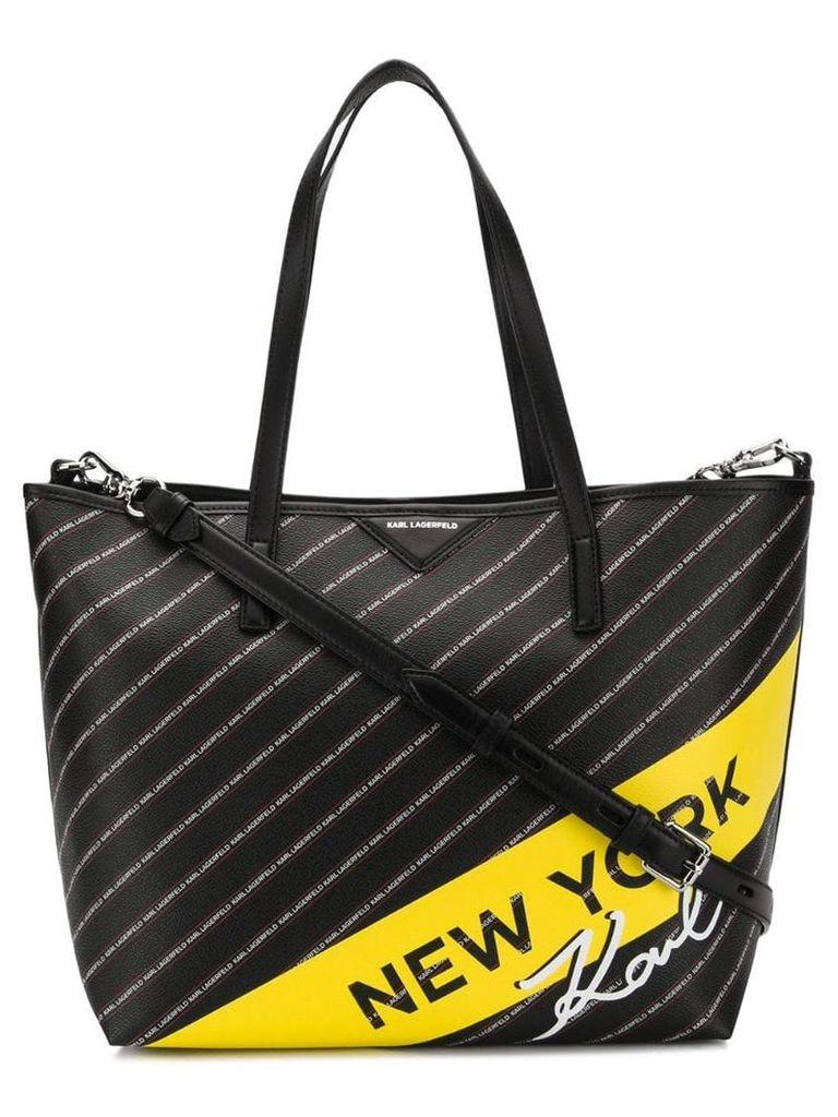 Karl Lagerfeld logo print shopper tote - Black