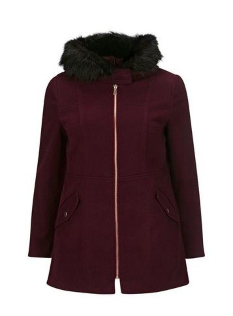 Berry Zip Front Duffle Coat, Red