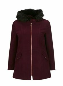 Berry Zip Front Duffle Coat, Red
