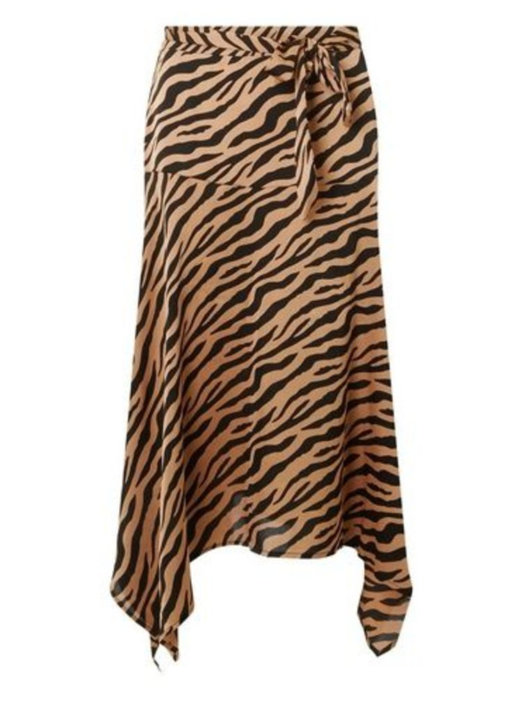 Womens **Only Tan Zebra Print Midi Skirt- Tan, Tan
