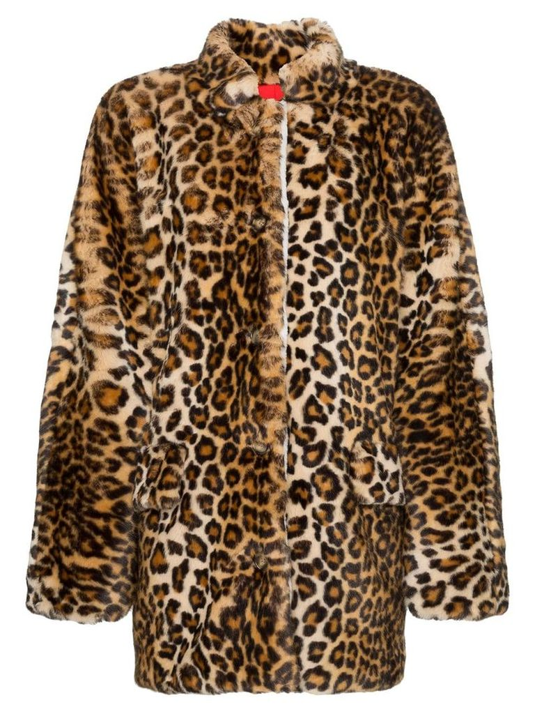 Sandy Liang Montague collared leopard print faux fur coat - Brown