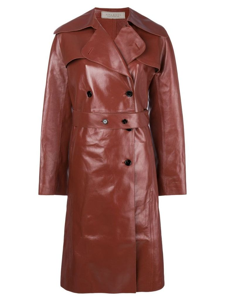 Nina Ricci double breasted leather coat - Red