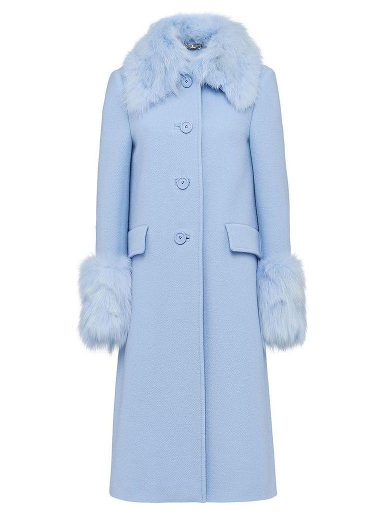Miu Miu Fur-trimmed twill coat - Blue