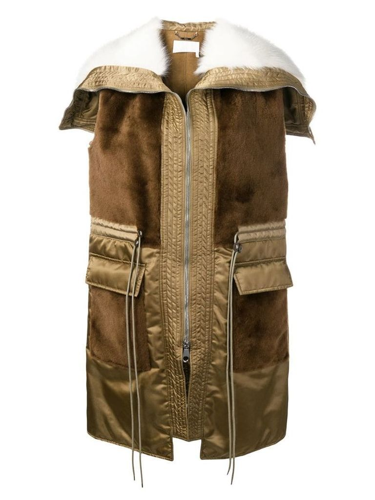 Chloé paneled sleeveless coat - Brown