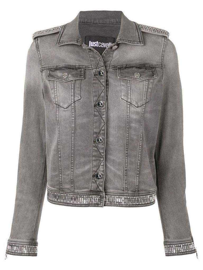 Just Cavalli metal-embellished denim jacket - Grey