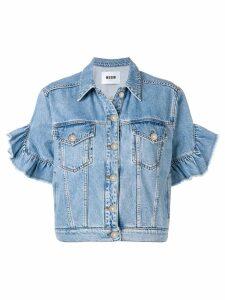 MSGM ruffle detail short sleeved jacket - Blue