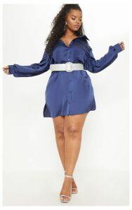 Plus Navy Satin Shirt Dress, Blue