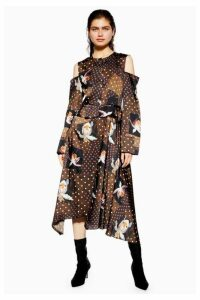 Womens **Orchid Print Skater Dress By Boutique - Chocolate, Chocolate