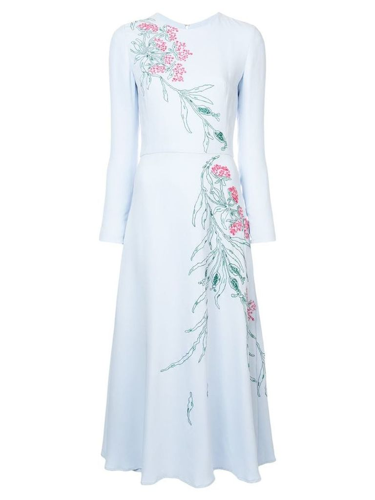 Carolina Herrera embroidered midi dress - Blue